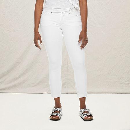 a.n.a - Petite Womens Skinny Ankle Jean, 16 Petite , White