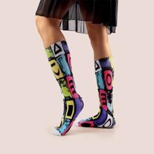 Knielange Socken mit Geo Muster
