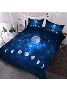 Eclipse of The Moon 3D Galaxy Comforter 3-Piece Soft Comforter Sets with 2 Pillowcases