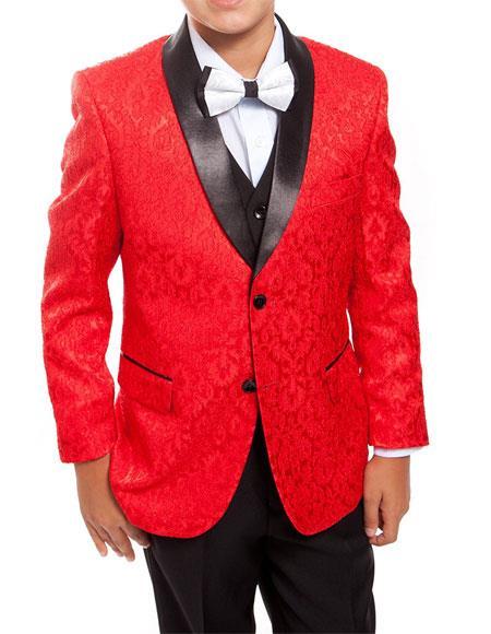 Kids ~ Children ~ Boys ~ Toddler Tuxedo Red/Black Vested Suit