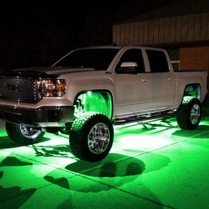 Recon Truck Accessories 264515GR Under Body Wheel Well Mounted Rectangular Ultra High Power Cree LED Green