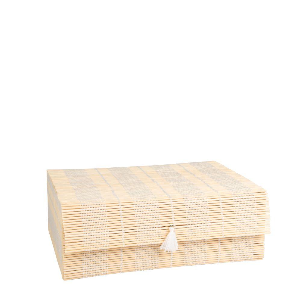 Box aus Bambus mit weissem Pompon