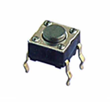 NKK Switches Black Flat Button Tactile Switch, Single Pole Single Throw (SPST) 100 mA 0.8mm Through Hole (10)