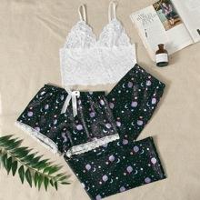 Floral Lace Bralette & Galaxy Print Satin Shorts & Pants