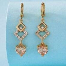 Rhinestone Decor Geometric Charm Drop Earrings
