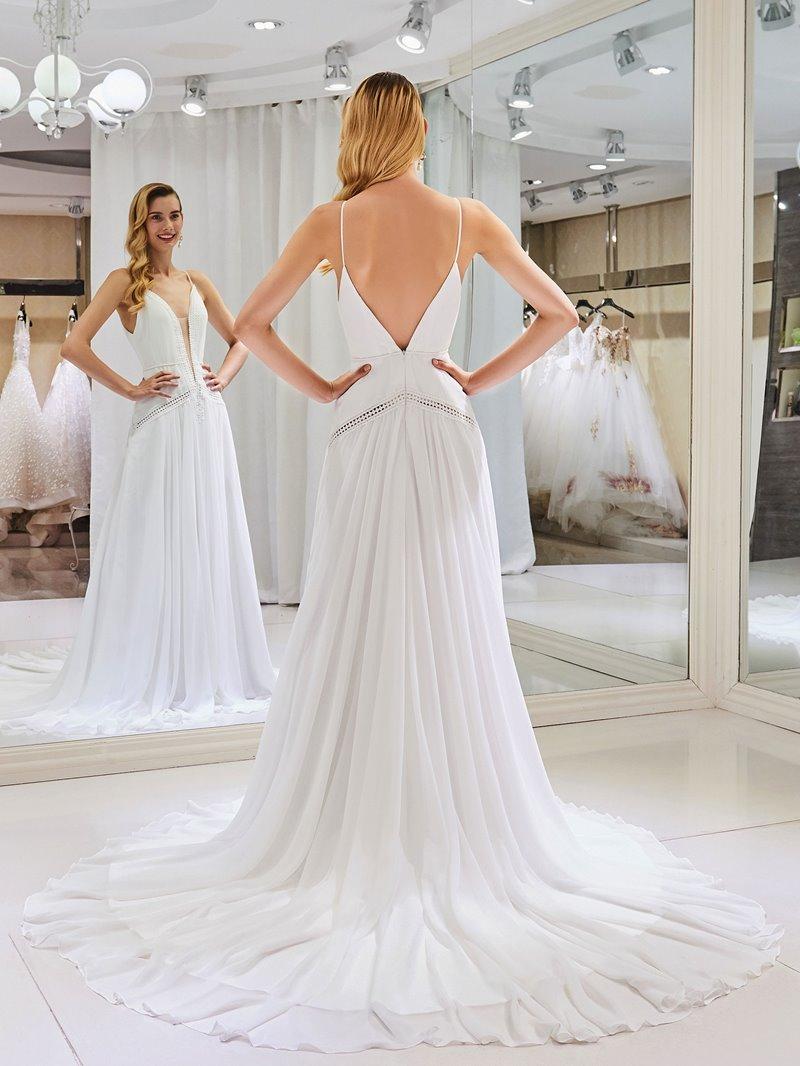 Ericdress Spaghetti Straps Hollow Lace Beach Wedding Dress