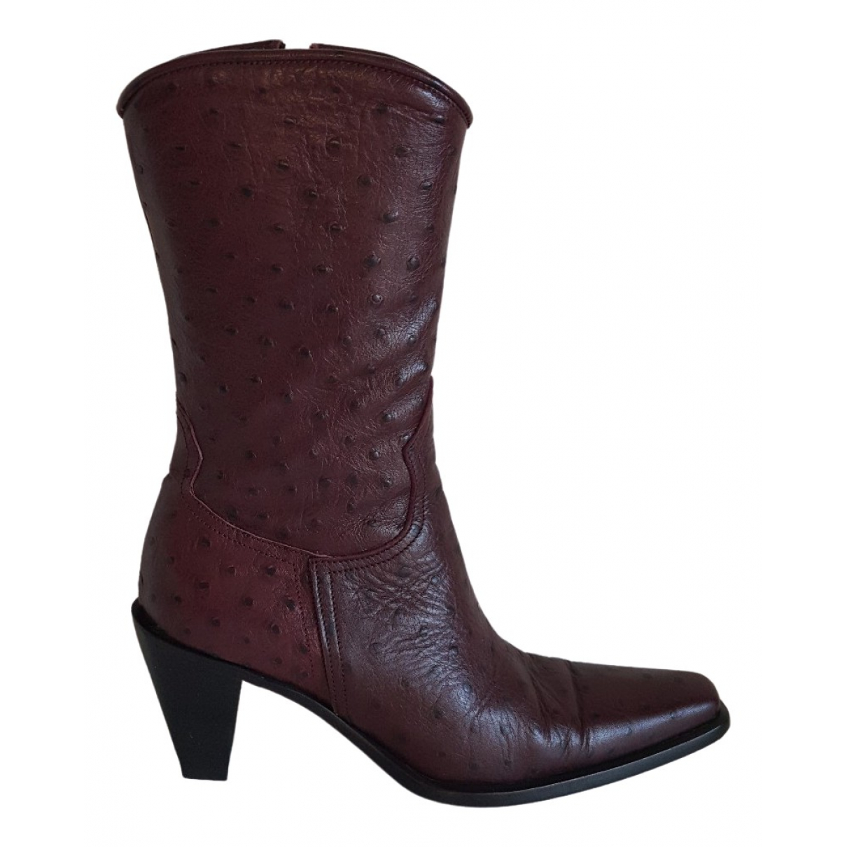 Orciani \N Burgundy Ostrich Ankle boots for Women 36 EU