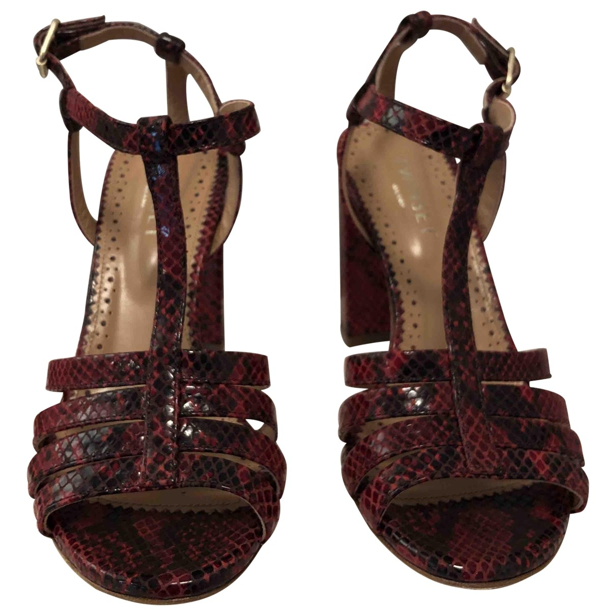 Twin Set \N Burgundy Leather Sandals for Women 36 IT