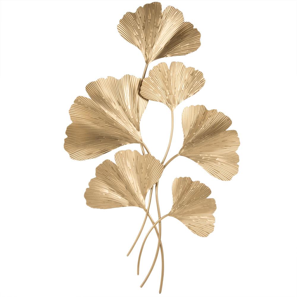 Wanddeko Ginkgo-Zweige aus Metall, goldfarben 48x79