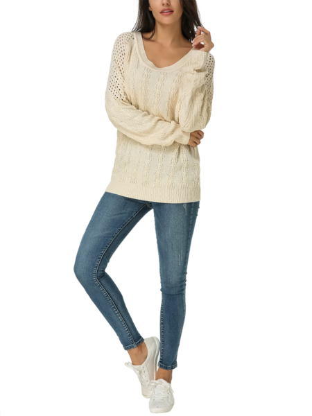 Yoins ZANZEA Hollow Design Round Neck Long Sleeves Sweater