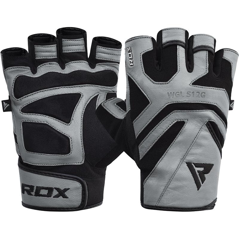 RDX S12 Fitness Workout Gloves Leather 2XL Grey/Black