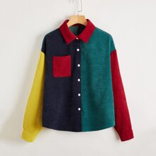 Collared Pocket Front Colorblock Cord Blouse