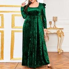 Samt Kleid mit Hammelkeuleaermeln