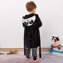 Toddler Boys Cartoon 3D Ear Design Belted Flannel Robe