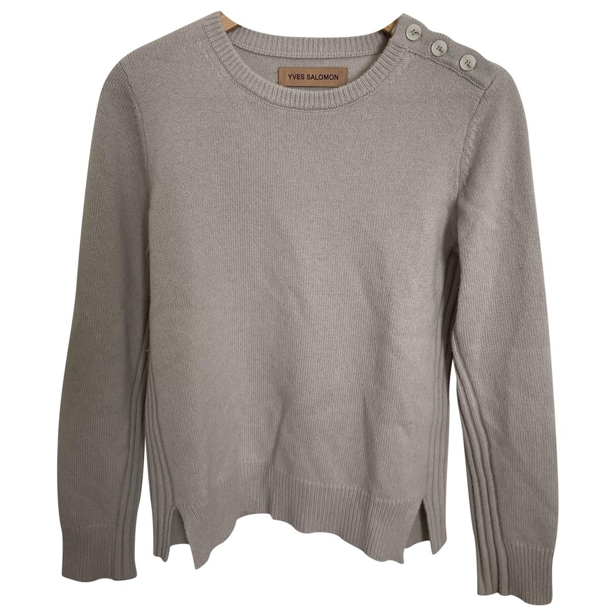 Yves Salomon - Pull   pour femme en laine - gris