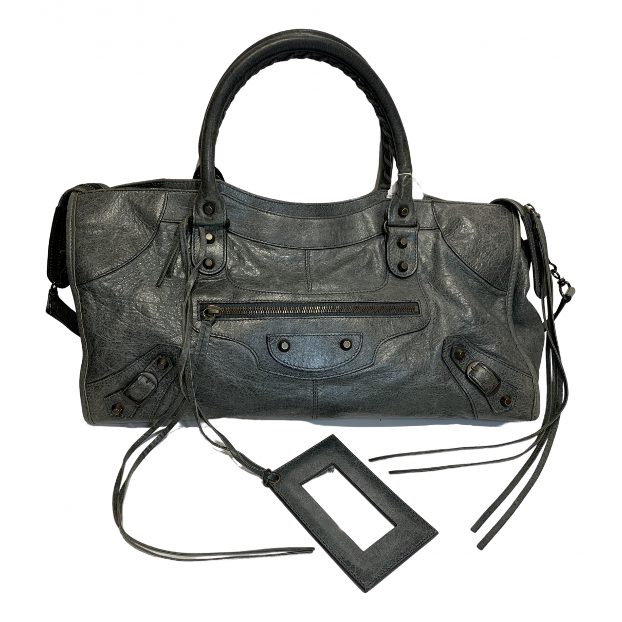 Balenciaga City Grey Leather handbag for Women \N