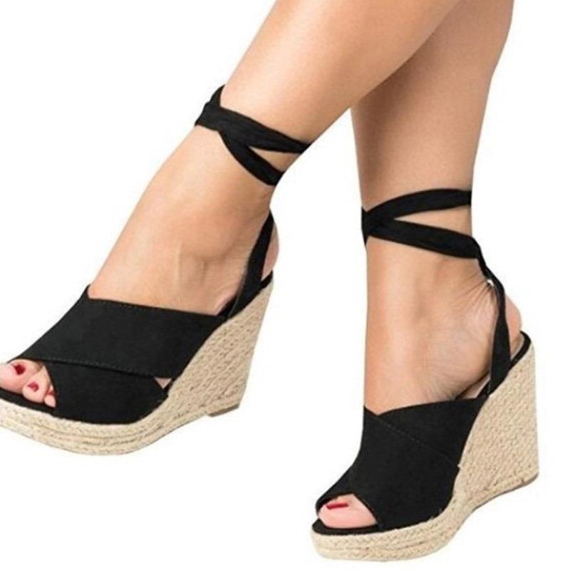 Ericdress Peep Toe Lace-Up Wedge Heel Women's Sandals