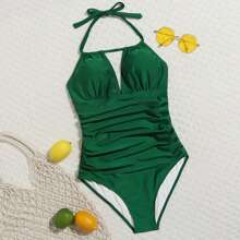 Solid Ruched One Piece Swimsuit