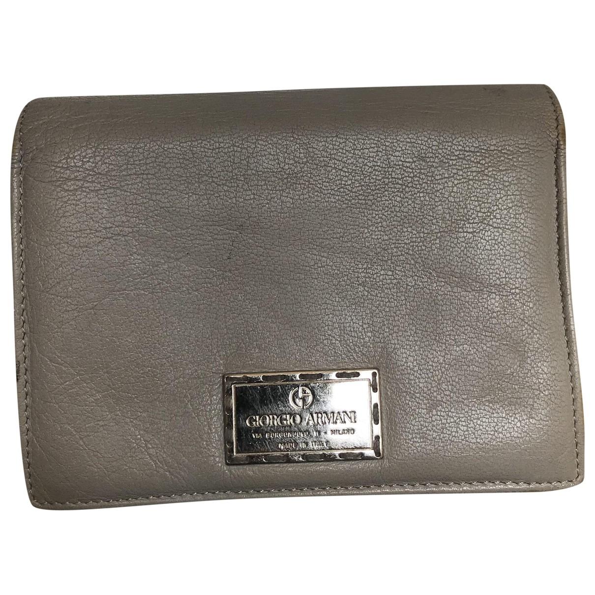 Giorgio Armani - Portefeuille   pour femme en cuir - gris