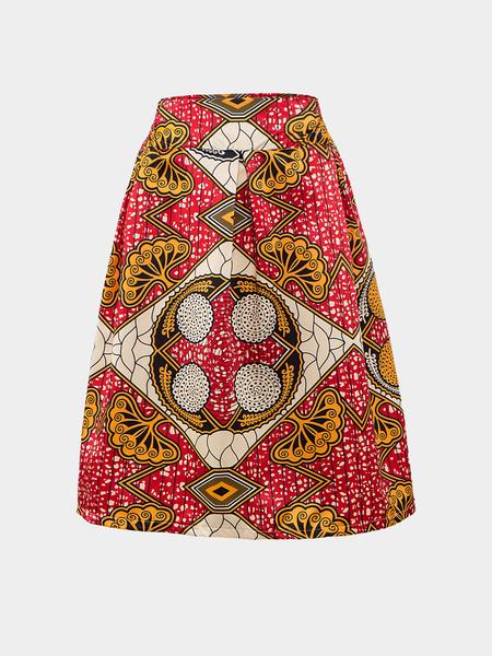 Yoins Vintage Geometrical Printing Pleated Midi Skirt