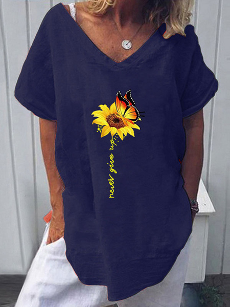 Milanoo Short Sleeves Tees Sunflower Printed V Neck Women T Shirt