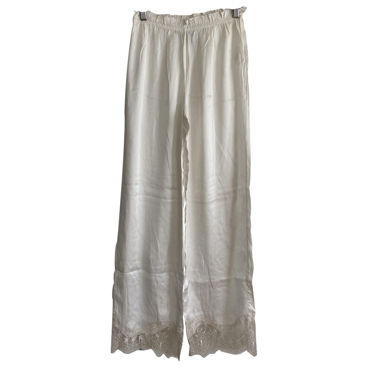 Non Signé / Unsigned \N White Trousers for Women 38 FR