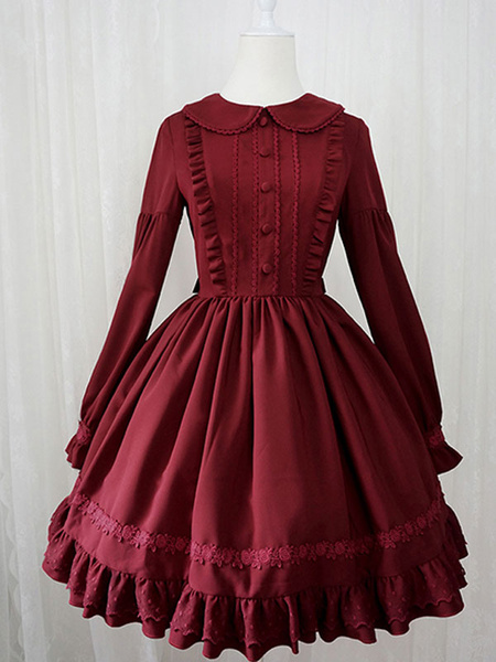 Milanoo Sweet Lolita OP Dress Ruffles Long Sleeves Lolita One Piece Dresses