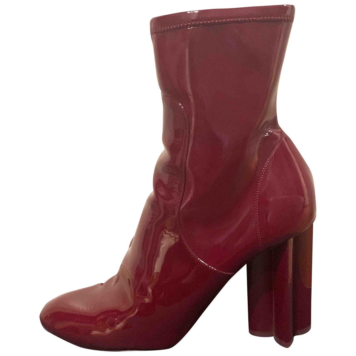 Louis Vuitton Silhouette Burgundy Patent leather Ankle boots for Women 40 EU