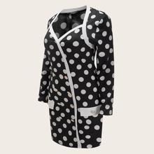 Zweireihiges Kleid mit Punkten Muster und Herzen Kragen