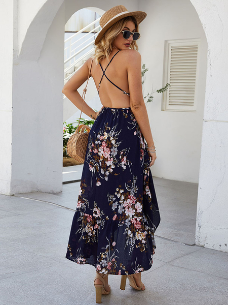 Yoins Navy Backless Design Floral Print Deep V Neck Dress
