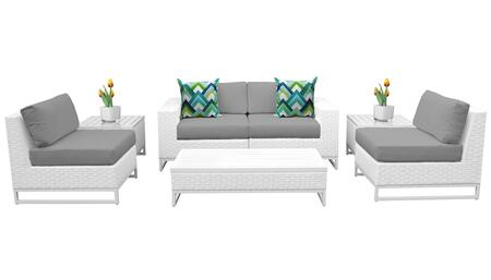 Miami MIAMI-07e-GREY 7-Piece Wicker Patio Furniture Set 07e with 2 Armless Chairs  2 End Tables  1 Coffee Table  1 Left Arm Chair and 1 Right Arm