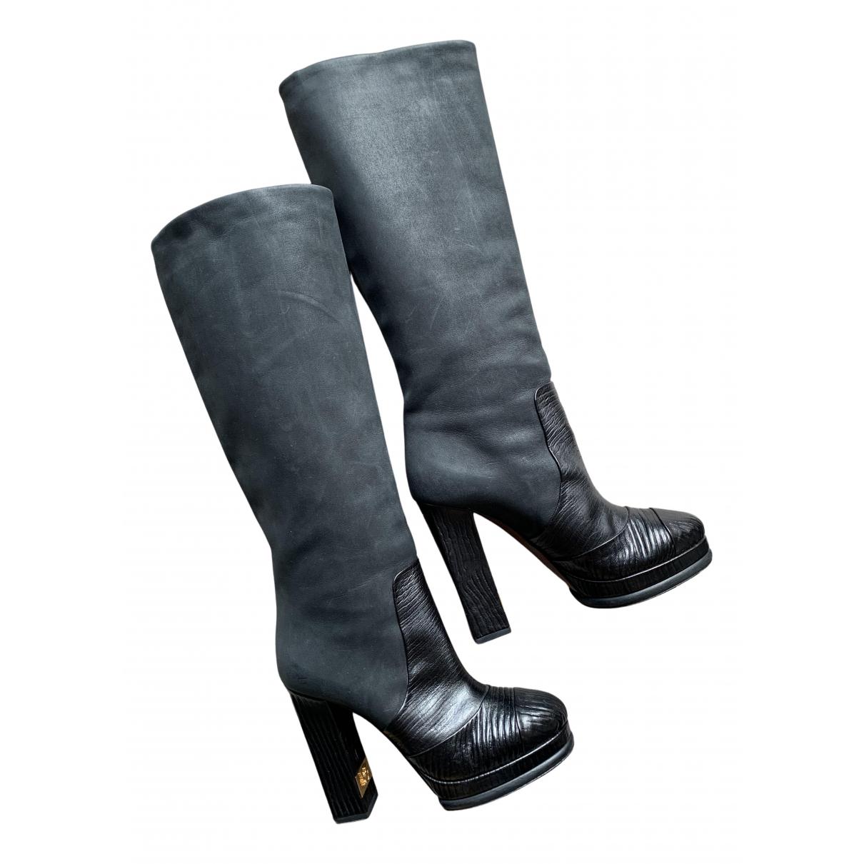 Chanel \N Stiefel in  Anthrazit Veloursleder