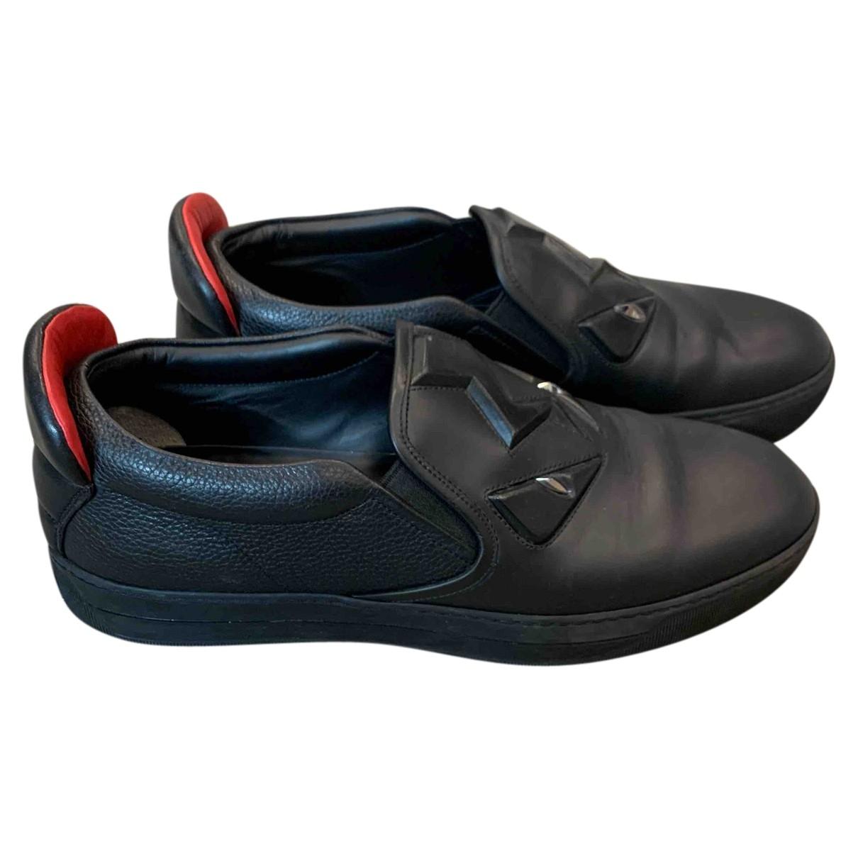 Fendi \N Black Leather Trainers for Men 41 EU