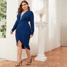 Plus Plunging Neck Ruched Wrap Front Glitter Dress