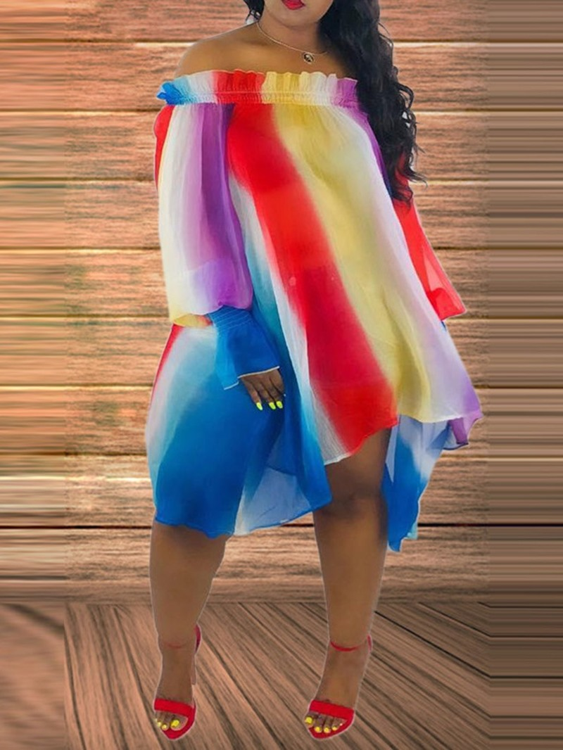 Ericdress African Fashion Off Shoulder Asymmetric Long Sleeve Dress