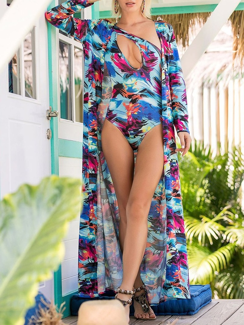 Ericdress Floral Hollow Sexy Swimsuit