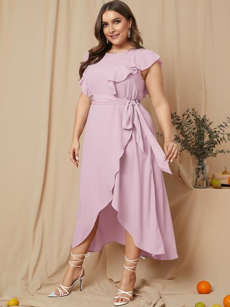 Yoins Plus Size Pink Belt Design Ruffle Trim Sleeveless Dress