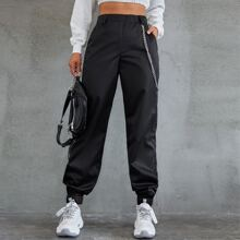 High Waist Chain Detail Pants