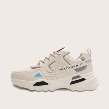 Men Letter Graphic Lace-up Front Chunky Sneakers