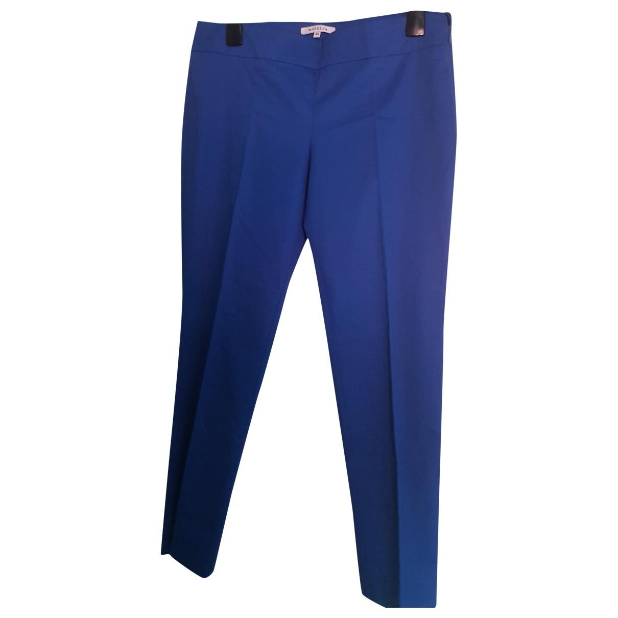 Marella \N Blue Cotton Trousers for Women 46 IT