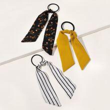 3pcs Striped & Ditsy Floral Pattern Hair Tie