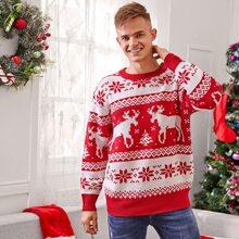 Men Christmas Elk & Snowflake Pattern Sweater
