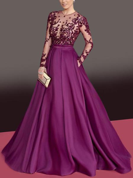 Milanoo Evening Dress 2020 A Line Jewel Neck Tulle Floor Length Lace Formal Dinner Dresses