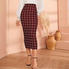 High Waist Grid Bodycon Skirt