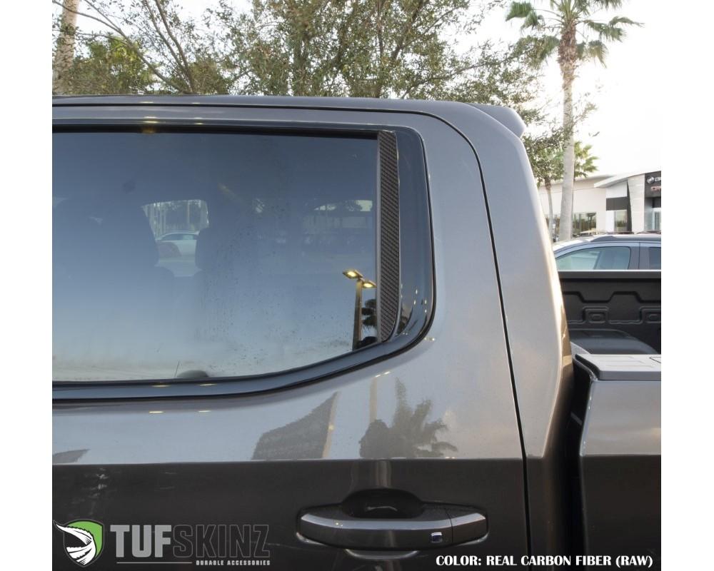 Tufskinz SVD012-RCF-X C-Pillar Accent Trim Fits 2019-2020 Chevrolet Silverado (D-Cab) 2 Piece Kit In Real Carbon Fiber(Raw)