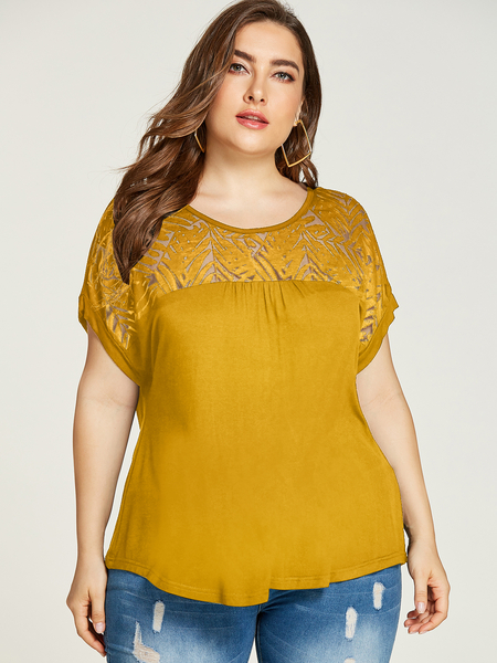 YOINS Plus Size Yellow Crew Neck Short Sleeves Tee