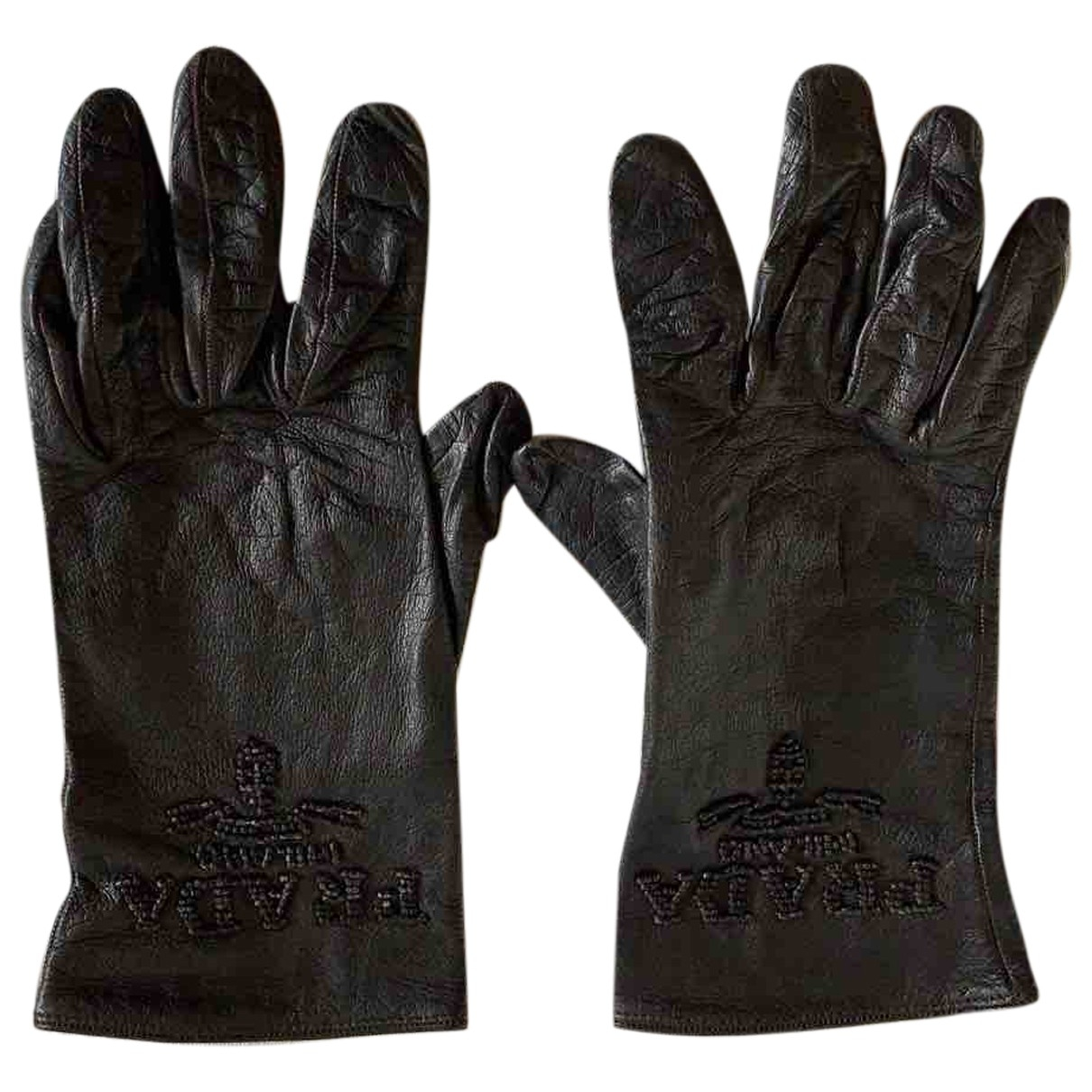 Prada \N Black Leather Gloves for Women 7.5 Inches