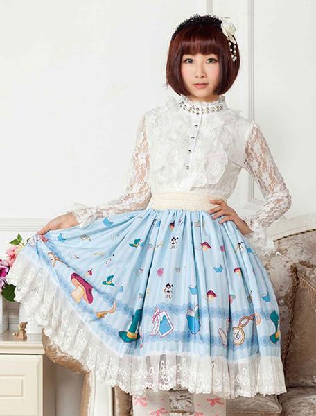 Milanoo Azul de encaje impreso poliester Lolita falda para niñas