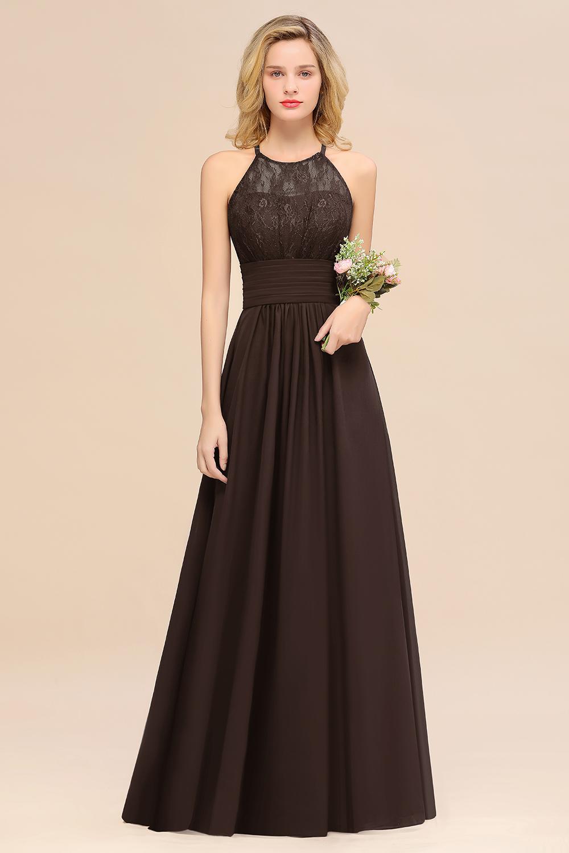 BMbridal Elegant Halter Ruffles Sleeveless Grape Lace Bridesmaid Dresses Affordable