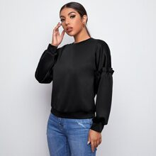Frill Trim Solid Pullover
